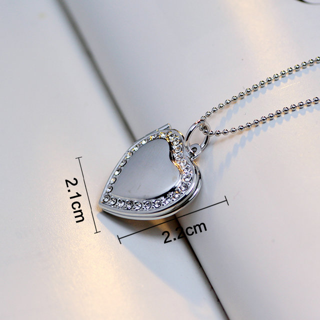Classic Memory Photo Frame Rhinestone Crystal Heart Pendant Locket Necklace For Womens Jewellery Fashion Necklaces Jewelry 4