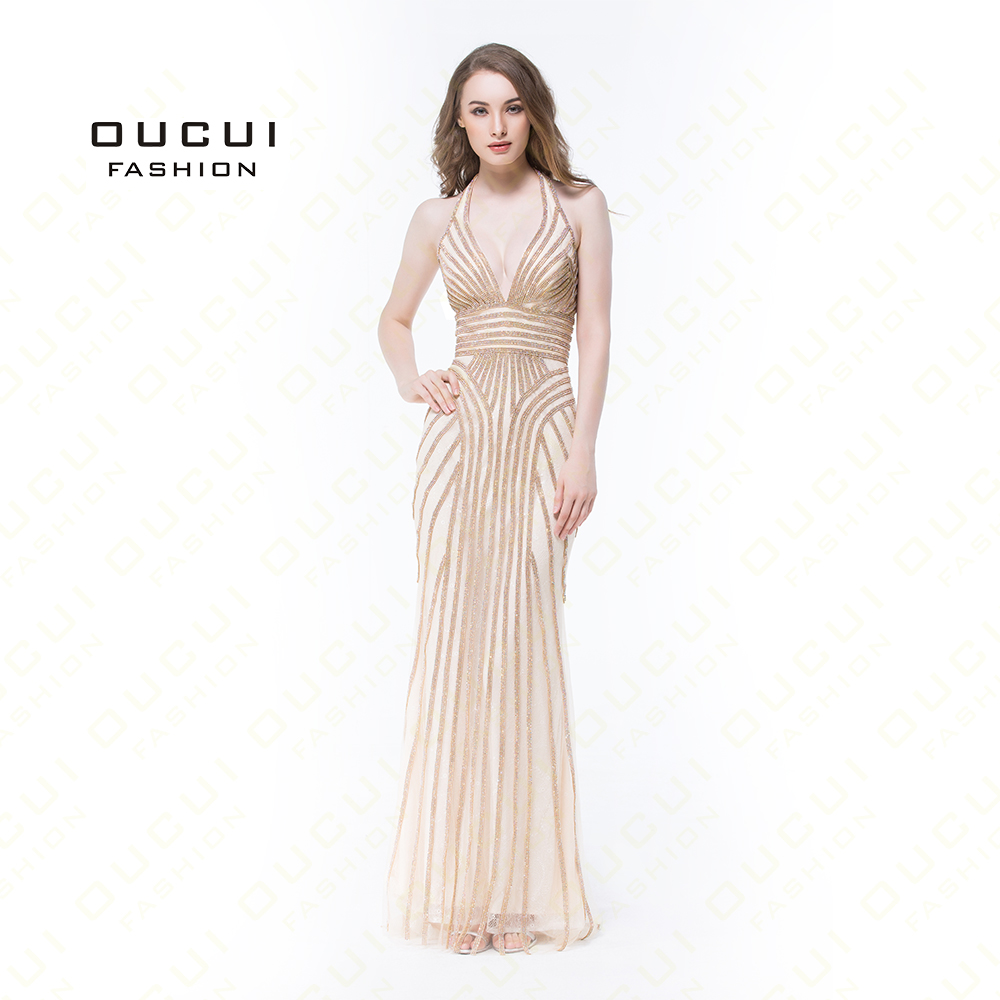 Real Photos   Evening     Dresses   Long Open back Party Prom Straight Shining Full Beading Halter Sexy Handmade Tulle OL102873
