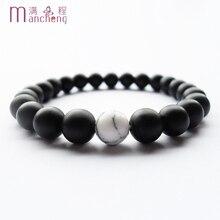 New Natural Black agates matte scrub bracelet man,Unisex Fine quality matte scrub Black agates strands bracelet with Elasticity