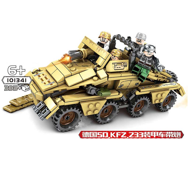 Military series World War II Germany SD.KFZ.233Z armored vehicle SWAT Figures Building Blocks For children GiftsMilitary series World War II Germany SD.KFZ.233Z armored vehicle SWAT Figures Building Blocks For children Gifts