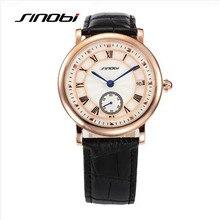 SINOBI Marca de Lujo de Los Hombres Correa de Cuero Reloj de pulsera de Moda Reloj de Cuarzo Ocasional Impermeable Auto Fecha Reloj Montre Homme 8188