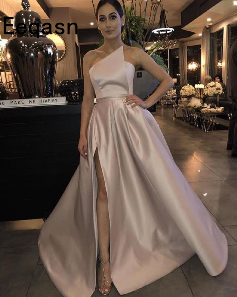 Elegant Prom Dress 2019 A-Line Satin Off The Shoulder High Leg Slit Dubai Saudi Arabic Long Evening Gown Gala Jurken