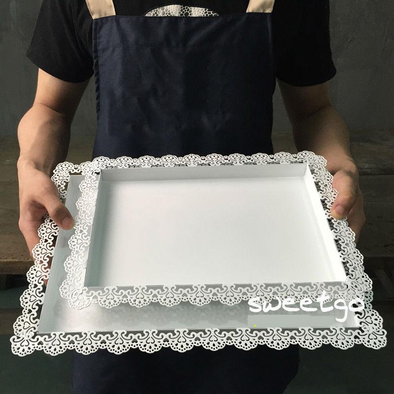 SWEETGO Esküvői dekoráció tálca fém vas fehér téglalap lemez - Konyha, étkező és bár - Fénykép 4