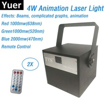Animation Laser Light 4W RGB 3IN1 Projector DJ Disco Party Music Stage Lighting Effect With Remote Control
