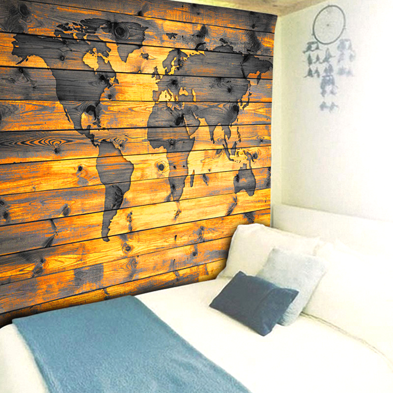Retro Rectangular Wood Printed World Map Landscape Painting Nordic ...