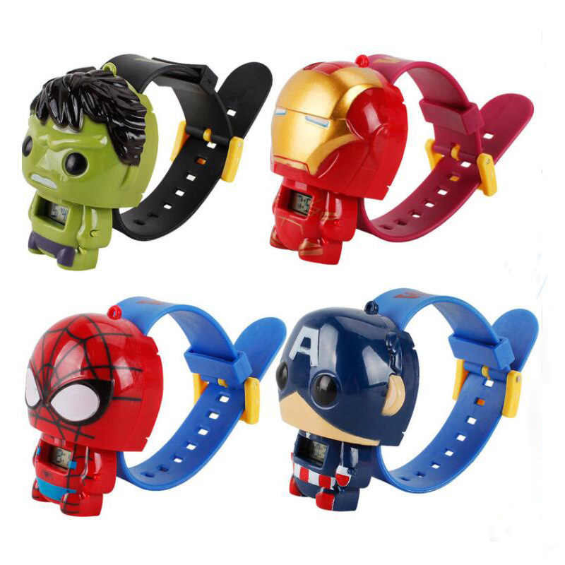 2019 qmxd marca pulseira quente vingadores elétrica crianças menino relógio hulk ironman figura modelo brinquedos figuras de ação para crianças presentes