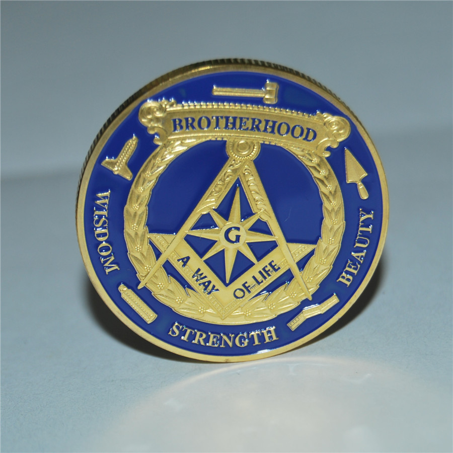 BROTHERHOOD Masonic Freemason coins Art collectibles freemasonry coin 15pcs lot free shipping Brand new challenge coins in Non currency Coins from Home Garden
