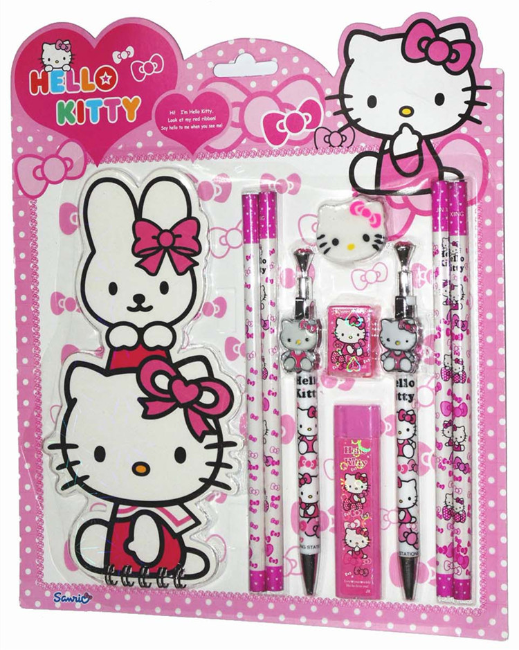 1Sets Hello Kitty Stationery Set Pencil Case Rubber Sharpener Ect School Supplies Cartoon Girls Kid Favor Gift LE640 In From Office