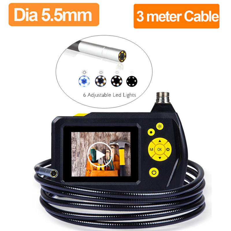 NTS100 Endoscope Camera 5.5mm Borescope Snake Inspection Camera DVR 3 Meter Tube Cable Video Digital Borescope Car Maintenance eyoyo nts100 dia 8 2mm 2 7 lcd nts100 endoscope borescope snake inspection 1m tube camera dvr
