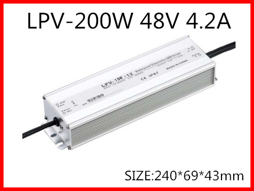200W 48V 4.2A LED constant voltage waterproof switching power supply IP67 for led drive LPV-200-48 90w led driver dc40v 2 7a high power led driver for flood light street light ip65 constant current drive power supply