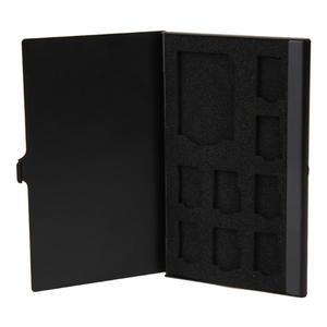 Portable Menmory Card Case Monolayer Aluminum 1SD+ 8TF Micro SD Card Pin Storage Box Case Holder Memory Card Storage Cases Black