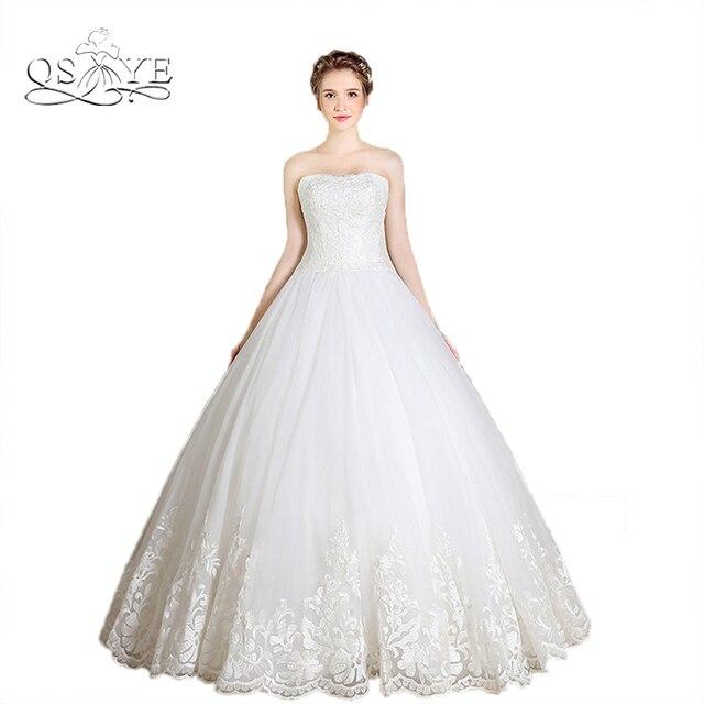 Vestido De Novia 2017 Plus Size Ball Gown Lace Wedding Dresses Strapless Appliques Tulle Cheap Bridal