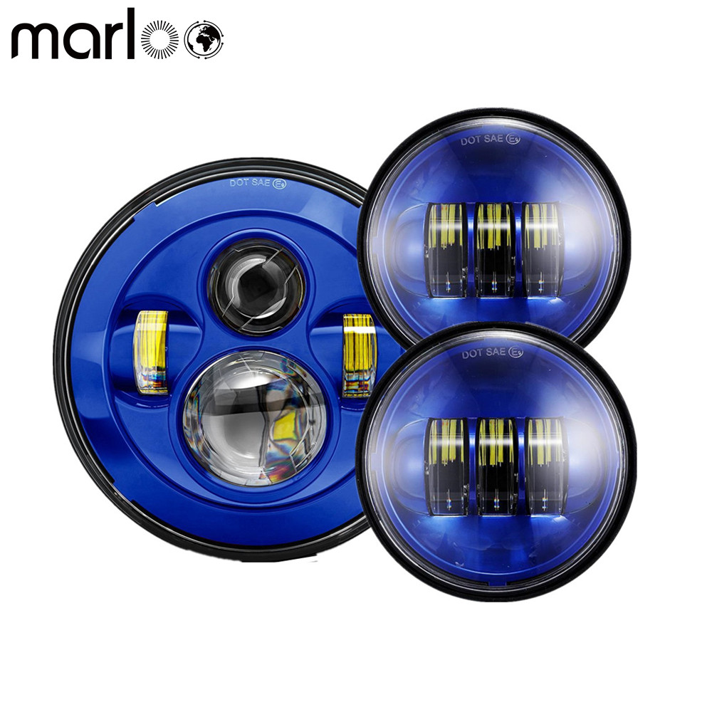 Marloo 7 Blue Harley Daymaker Led Headlight + 2X 4 1/2 Fog Light Passing Lamps Set For Harley Davidson Motorcycle 7 inch black harley daymaker led headlight 2x4 1 2 fog light passing lamps for harley davidson ultra classic glide motorcycle