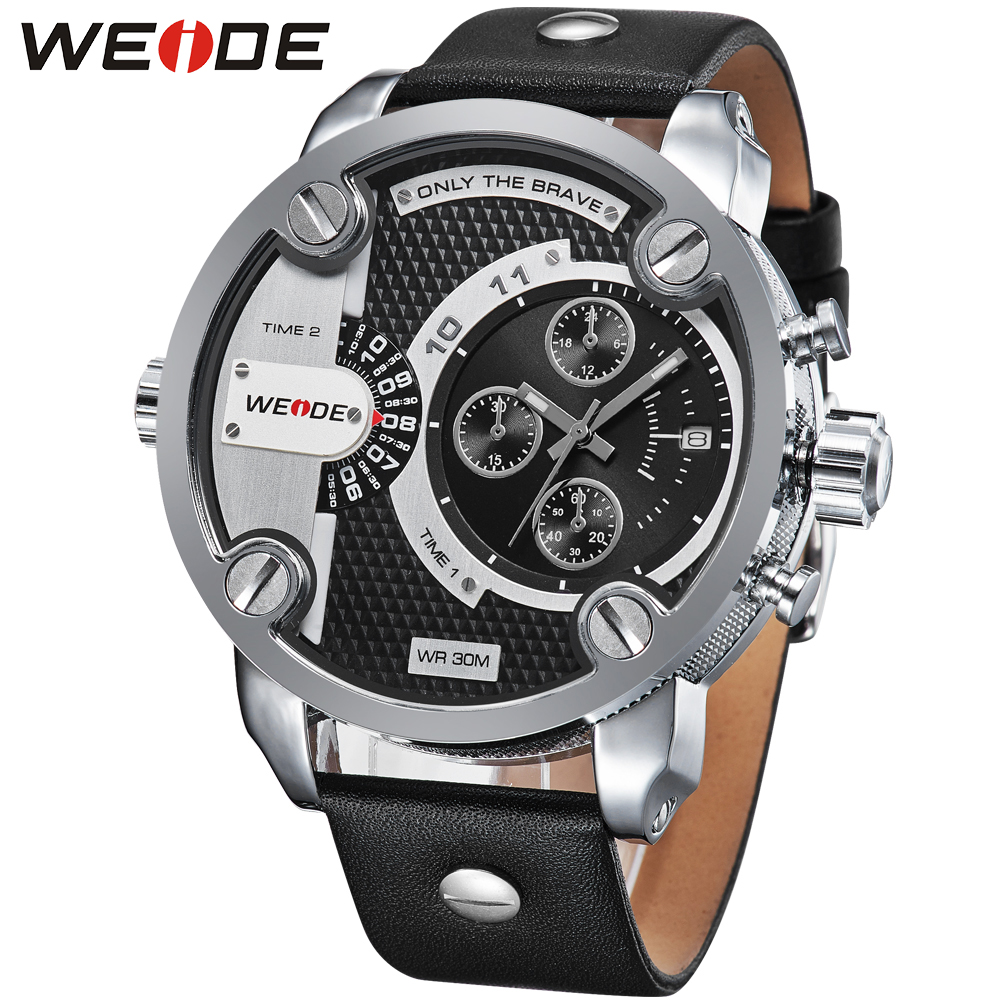 Weide sport men watch  leather quartz luxury brand watch dress watch fashion casual electronic wrist watches camping role clock splendid brand new boys girls students time clock electronic digital lcd wrist sport watch