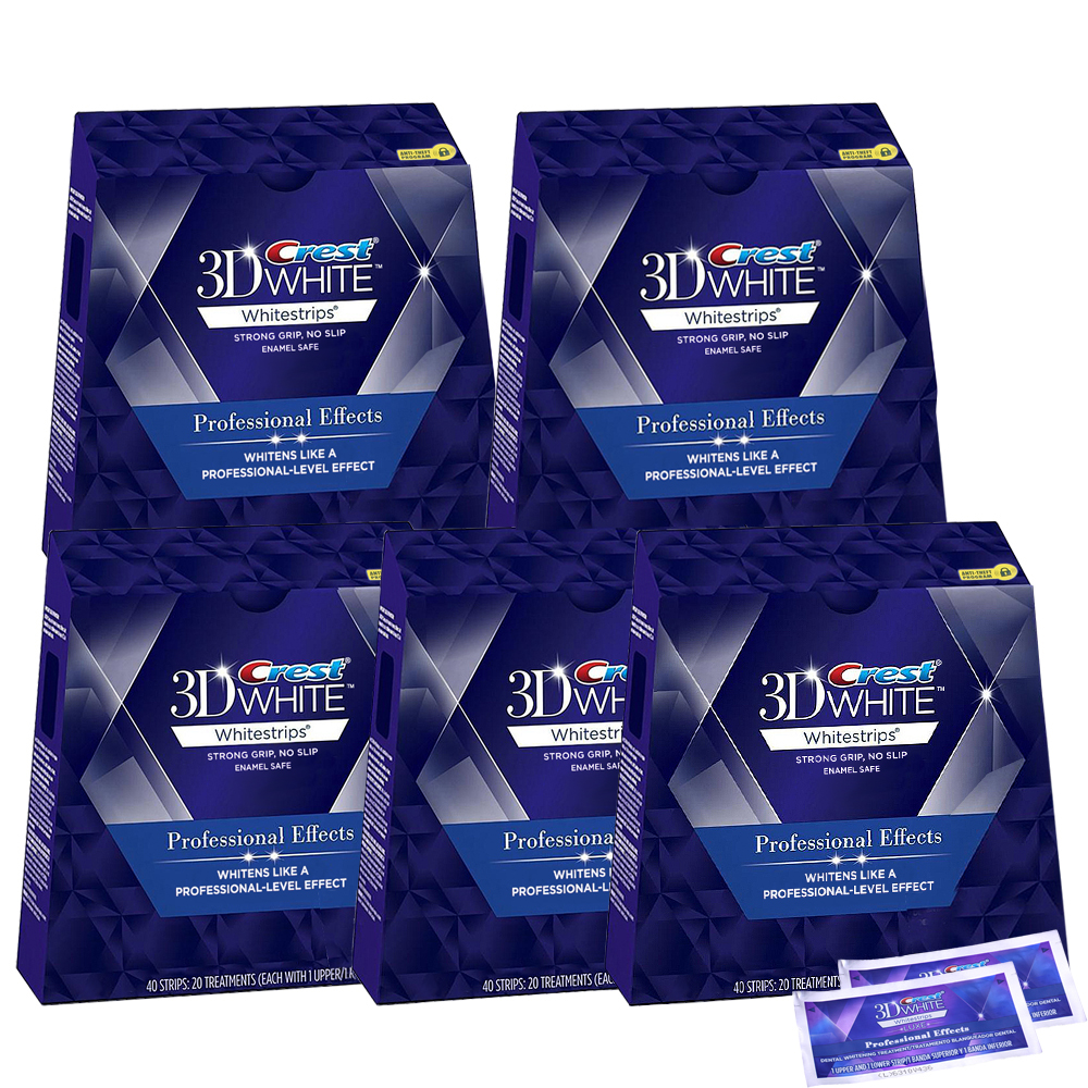 Crest 3D White LUXE Whitestrips Professional Effects 11.11 Oral Care Teeth Whitening Strips 5 Box(100 Pouches/200Strips) crest 3d 180g