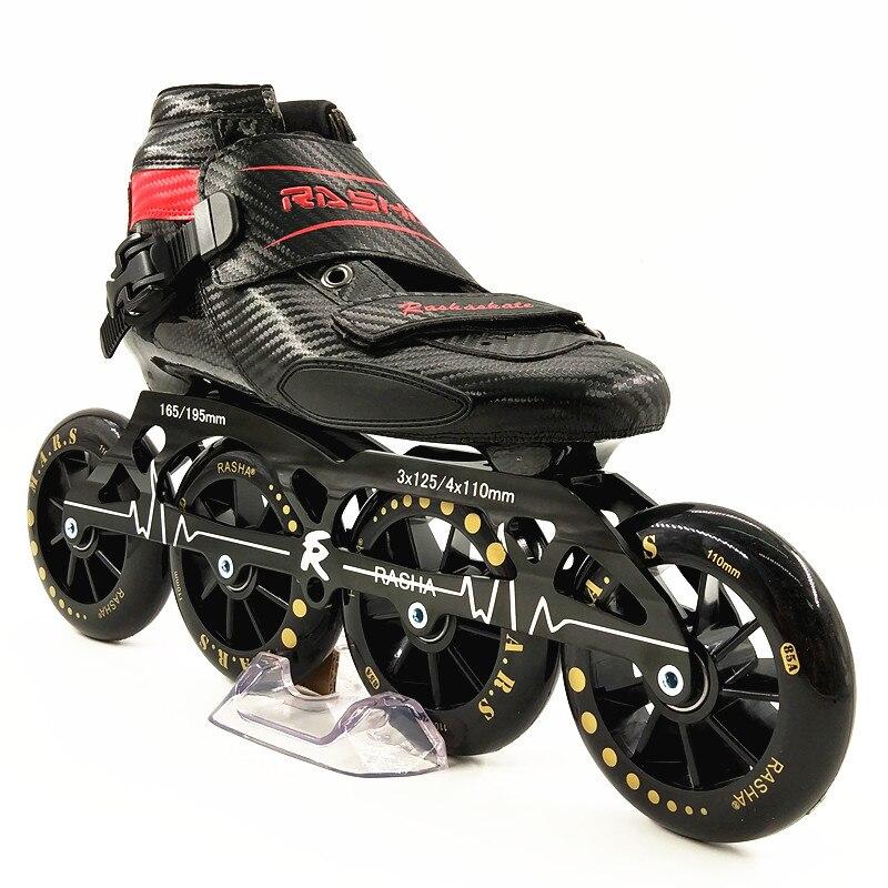 Prix pour RASHA SKATE 3 4 roues inline chaussures de patinage de vitesse vitesse patins noir carbone inline patins à roulettes boot hommes/femmes patins inline