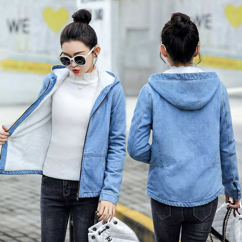 Autumn Winter Denim Jacket For Women New 2019 Fashion Warm Hooded Denim Coat Female Wool Lining Jacket Casual Chaqueta Mujer