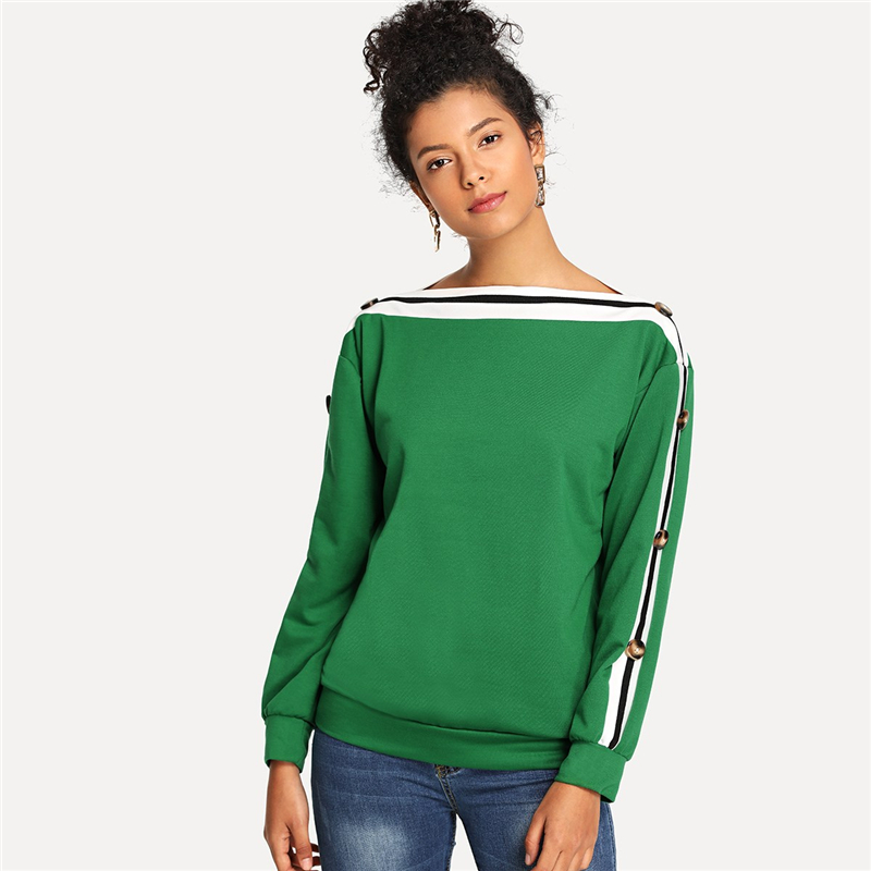 Green Striped Button Detail Boat Neck Women Sweatshirt