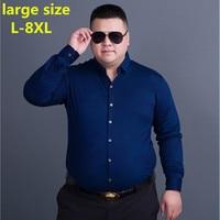 Large Size 8XL 6XL 5XL 4XL New Arrived 2017 Mens Work Shirts Brand Long Sleeve Striped