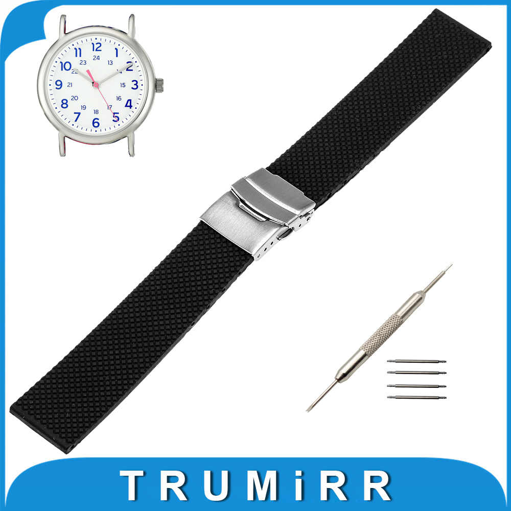 19mm 20mm 21mm 22mm Silicone Rubber Watch Band for Timex Weekender Expedition Stainless Steel Buckle Strap Belt Bracelet timex часы timex tw4b03500 коллекция expedition
