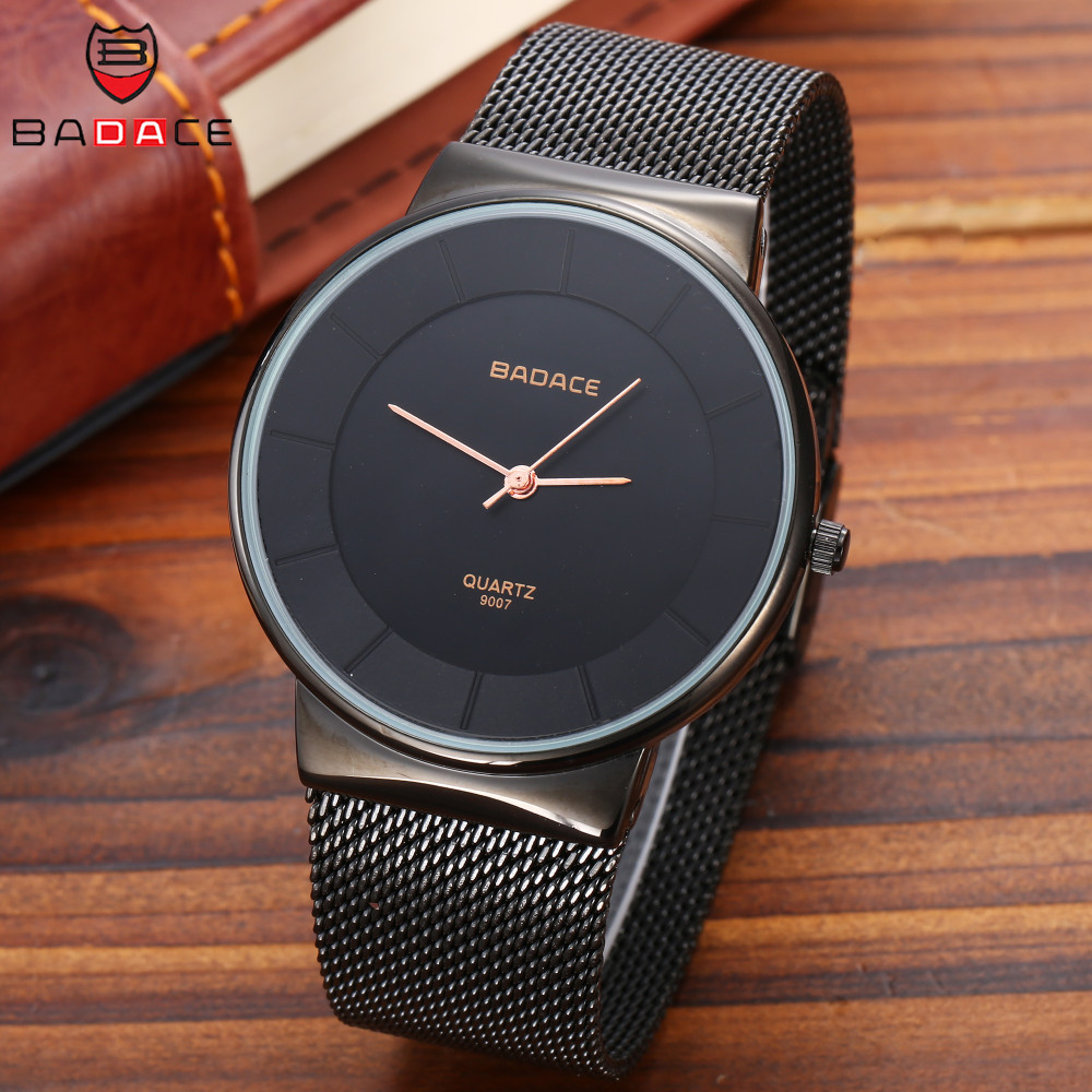 BADACE Mens Watches Top Brand Luxury Hour Man Gold Watch Ultra Thin Mesh Band Quartz Clock Wristwatch Casual Watches 9007 bad influence