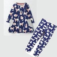 Jumping Beans Baby Girls Clothing Sets Long Sleeve Cotton Kids Garments Cartoon Cats Autumn Kids Dress