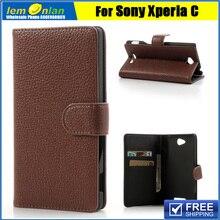 Для sony xperia c c2305 s39h личи кожаный бумажник стенд case для sony xperia c c2305 s39h кожаный чехол бесплатно доставка
