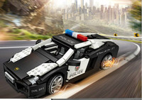 Mini Blocks Poolice Car Model Bricks Building Blocks Creator Plastic Assembly Toys for Children Educational Gifts DIY