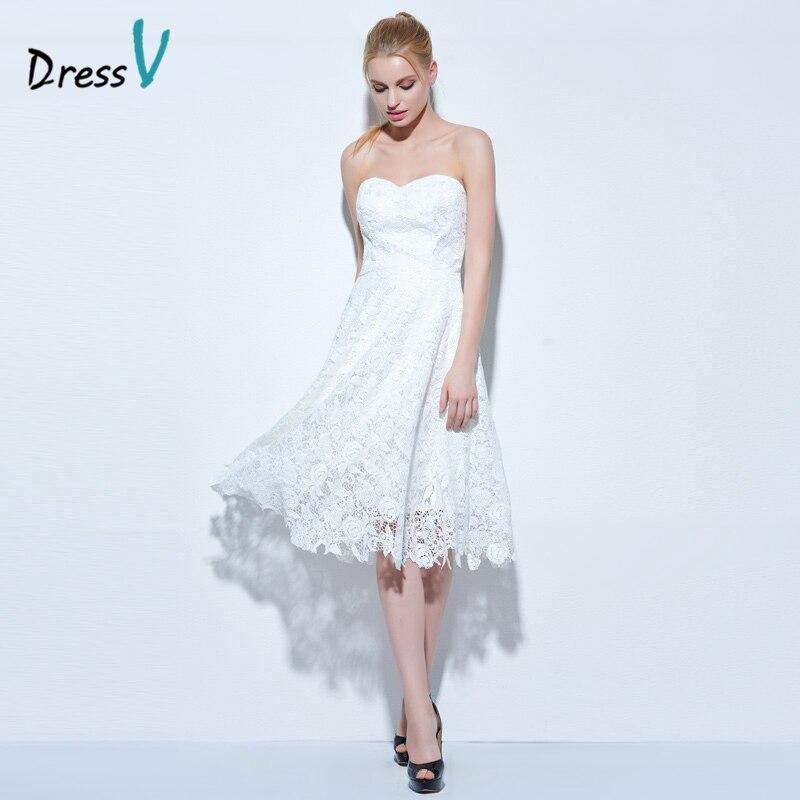 Dressv marfil sweetheart vestido de cóctel A-line mangas hasta la rodilla vestid