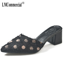 Slippers women 2019 new summer fashion high-heeled shoes flip flops women sandles women Mules Shoes High Heels