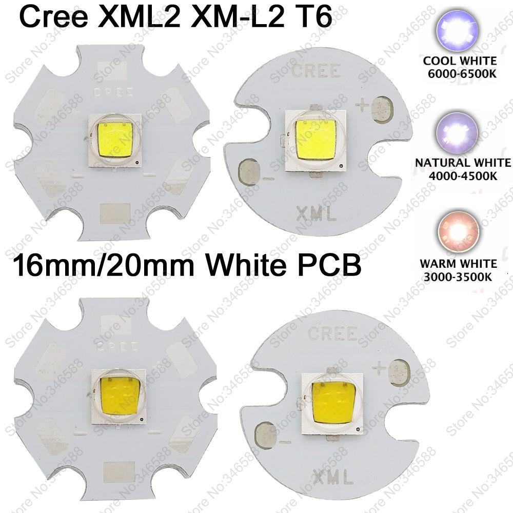 2x CREE XML2 XM-L2 T6 High Power LED Emitter Cool White 6500K Neutral White 4500K Warm White 3000K 16mm 20mm White Aluminum PCB