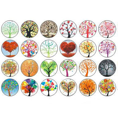 10pcs Mixed colors 18MM glass cabochon life tree snap buttons fit DIY snap brace