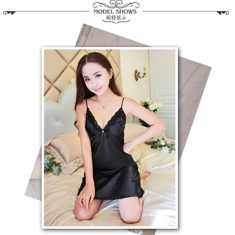 ... BabYoung Women Pyjamas Sexy Silk Satin Night Gown Sleeveless Nightdress  Lace Sleep Dress V-neck ... 659c012d8
