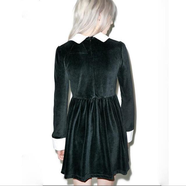 Fashion Ladies Long Sleeve Turn Down Collar Gothic Style Vintage Velvet A Line Dress  2