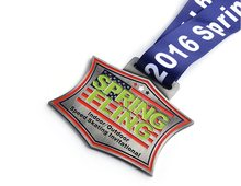 customized medals hot sales spring sports metal  cheap custom enamel color medal ribbons