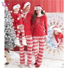Lzh/Семейные комплекты 2017 Зима Семейные рождественские пижамы для мамы, папы и сына комплекты одежды семейная одежда Костюмы