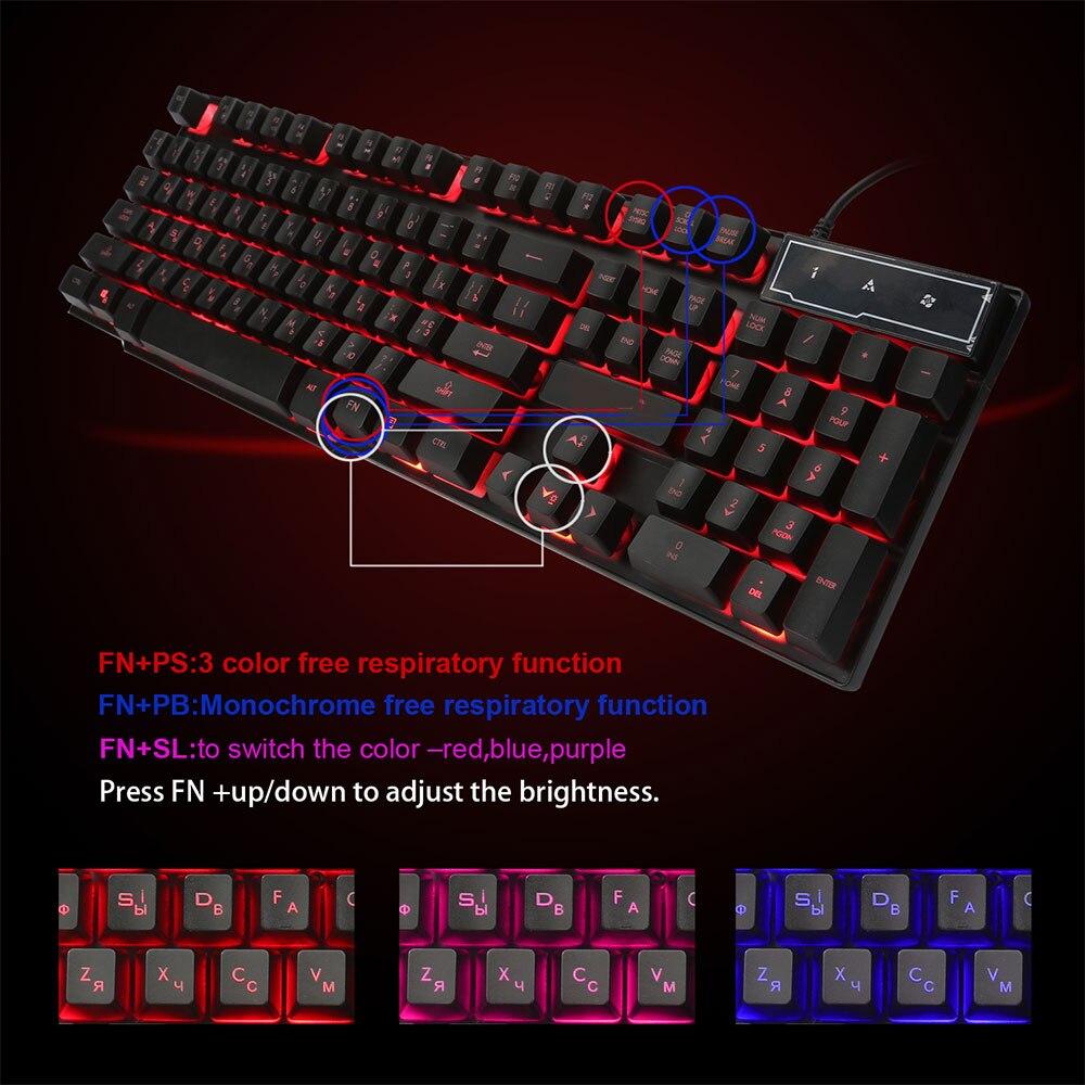 Russian//English LED Backlit Mechanical Feeling USB Wired Multimedia Keyboard