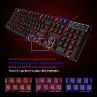 104 Keys Russian/English 3 Color USB Wired Backlit Keyboard Mechanical Feeling Waterproof Computer Gaming Keyboard