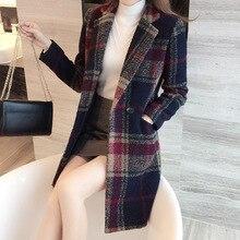 Korean Women Wool Coat Ladies Wool Coat 2016 Fall Winter Plaid Lapel Full-sleeve Cashmere Long Coat For Womens Cloak Ourwear 2xl