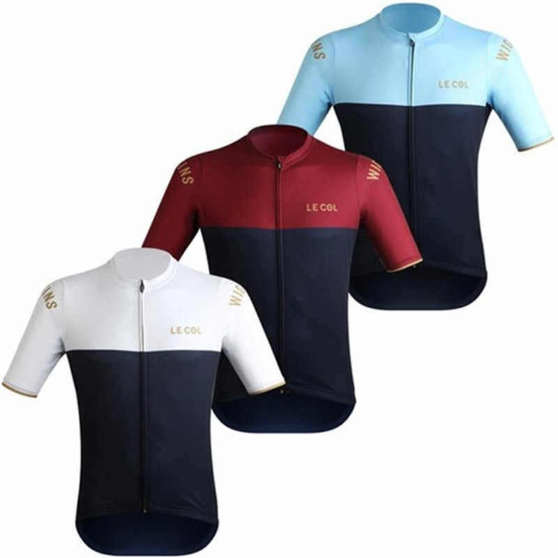 2019 zomer mannen fiets shirt le col korte mouwen wielertrui maillot ciclismo hombre comfortabele sneldrogend sport panty bic