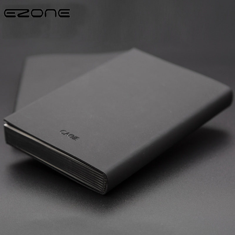 EZONE Creative Black Notebook PU Cover Note Book Business Style Notepad Planner Daily Blank/Line Pages School Office Supplies