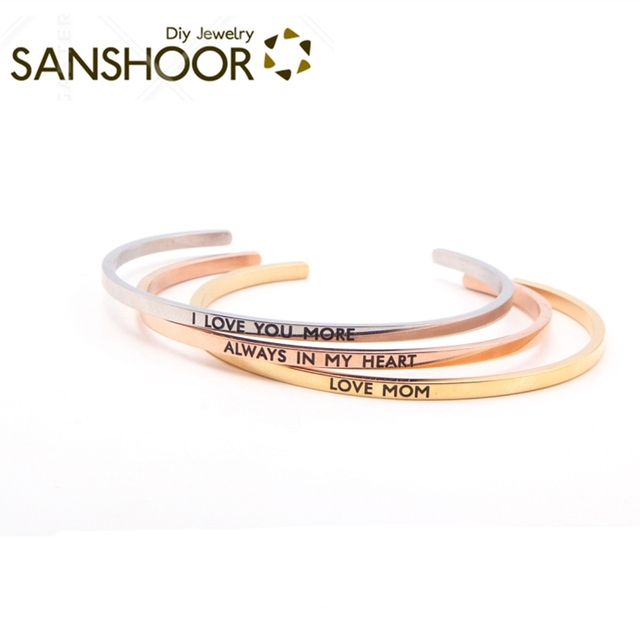 98396bbb51f SANSHOOR Personalized Cuff Mantra Bracelet Stainless Steel Custom Stacking  Namesake Bangles Positive Inspiration Life 2Pcs/