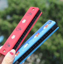 2016 New Colorful Educational Musical Wooden Painted Harmonica Instrument Toy for Kids Children Gift Randomly Kid high quality