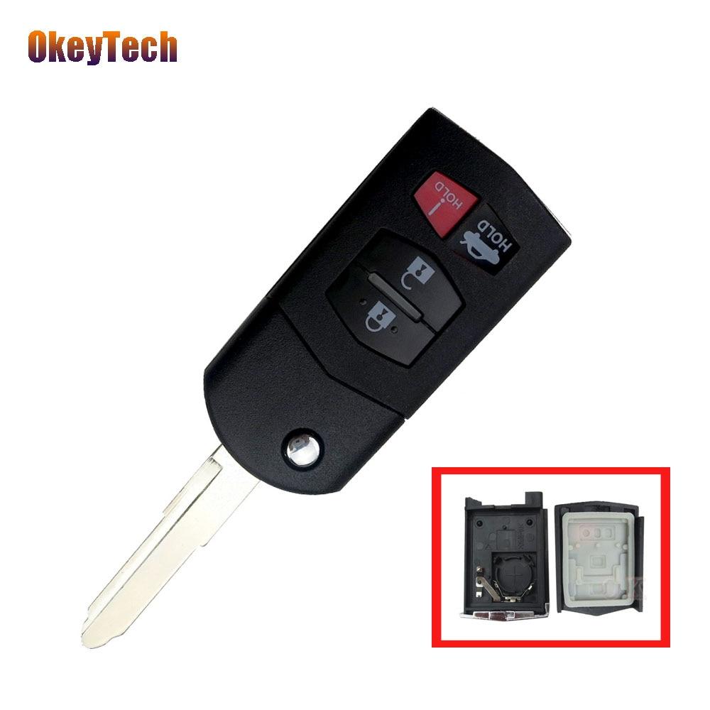 OkeyTech For Mazda Key Shell 4 Button Flip Folding Remote Cover Case Fob For Mazda 3 5 6 RX-8 MX-5 CX-5 Miata CX-7 CX-9 05-1