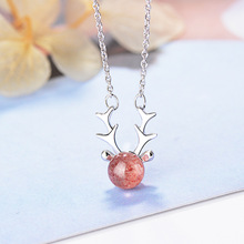 Silver Elk Deer Antlers Moonstone Necklaces Pendants For Women Fashion jewelry elk deer antlers pendant necklace gift for women
