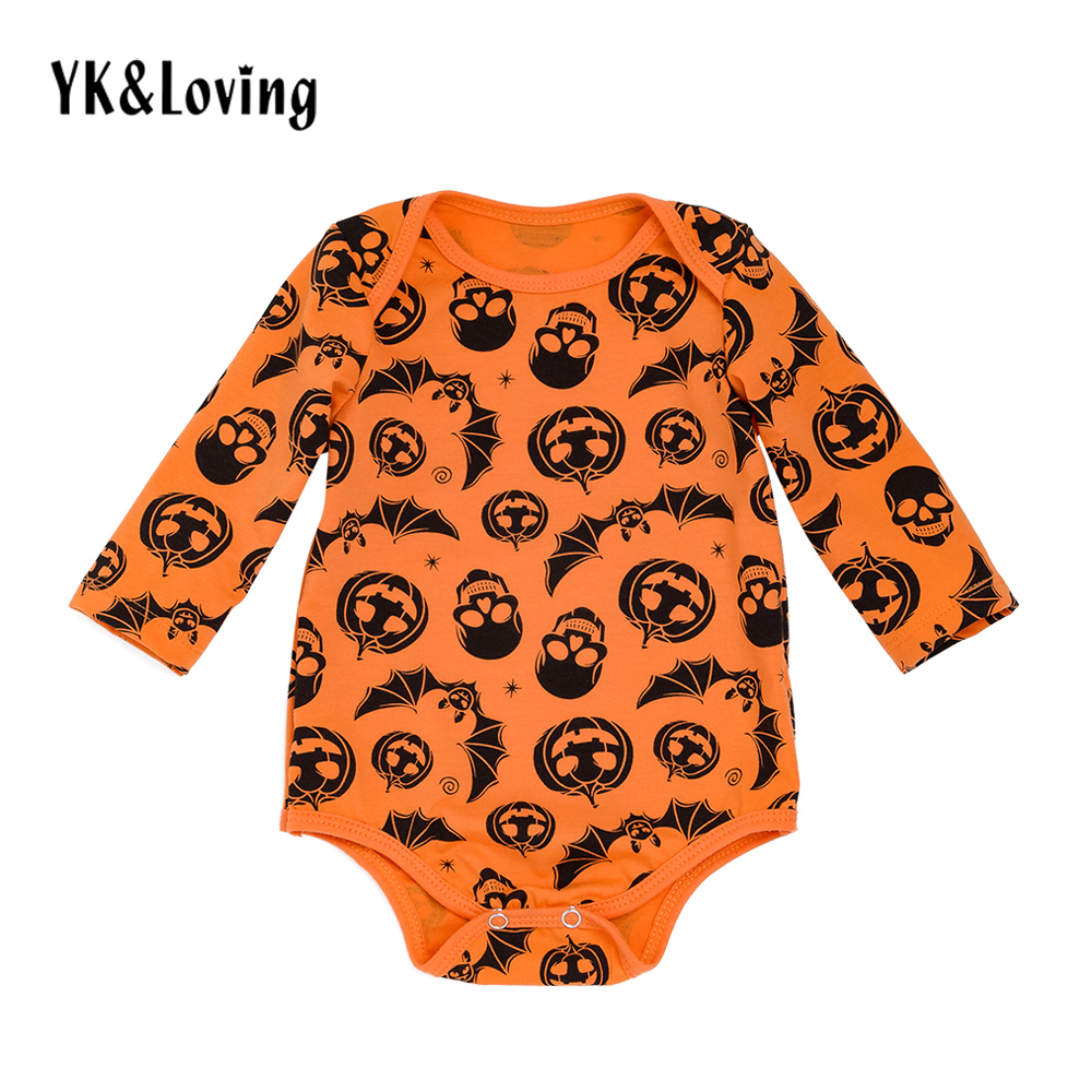 New Baby Boy Rompers Halloween  Cotton Orange Skull Pumpkin Printing  Long Sleeve Children Newborn Clothes Free Shipping