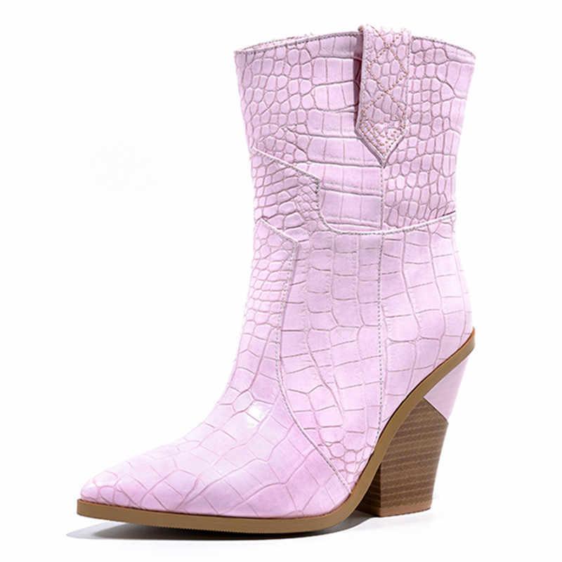 MORAZORA boyutu 34-46 yeni marka yarım çizmeler kadınlar için kalın yüksek topuklu bayanlar sonbahar kış boos altın gümüş moda kadın botları