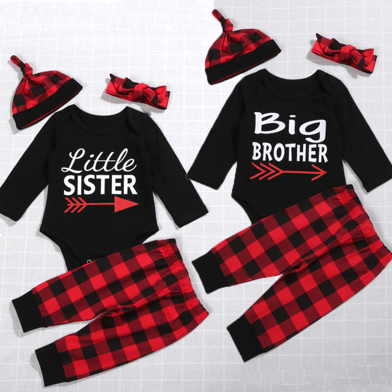 PUDCOCO Xmas 4pcs kid Brother and sister Clothes Newborn Baby Girl Boy Plaid Cotton Romper+ Long Pants+Hat +Headband Outfits