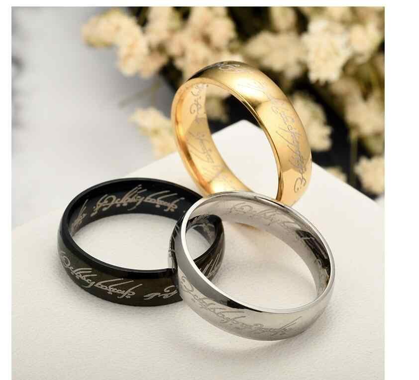 Lover' Pernikahan Cincin Sihir Huruf Tuhan Satu Cincin Warna Perak Emas Titanium Stainless Steel Cincin untuk Pria wanita Wj229