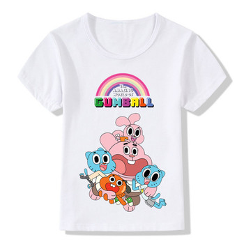 The Amazing World Of Gumball Cartoon Printed Funny Children's T-Shirts Kids Casual Tops Tees Boys/Girls Clothes For Baby,HKP5125
